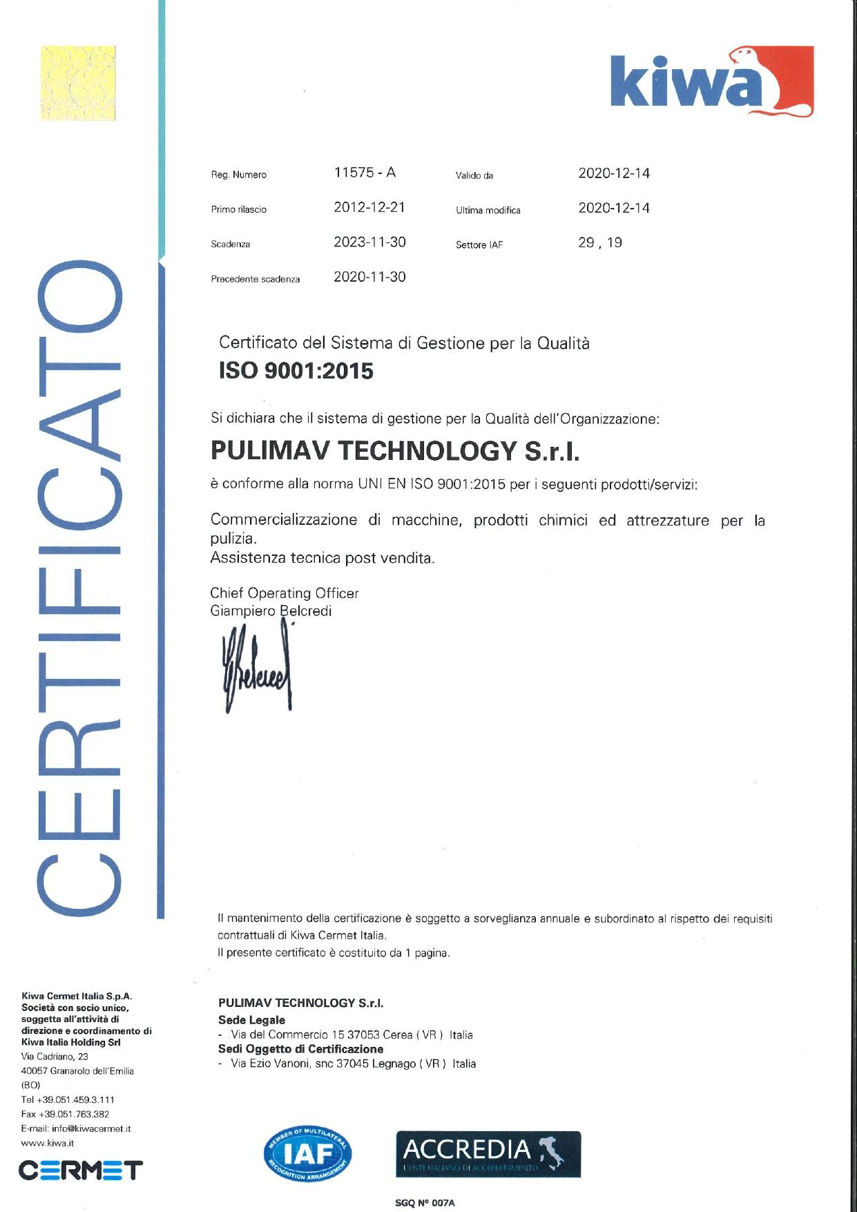ISO 9001:2015- Pulimav